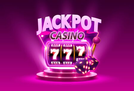Golden slot machine wins the jackpot. Isolated on purple background. Vector illustration
