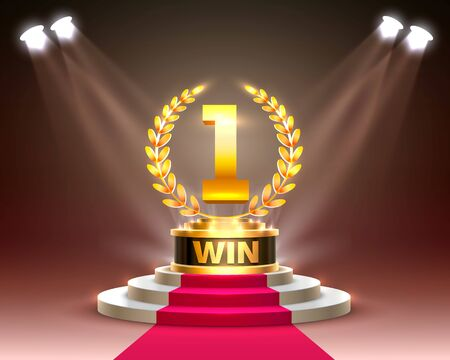 Stage Cup with lighting, Stage Podium Scene with for Award Ceremony on Night Background. Vector illustration