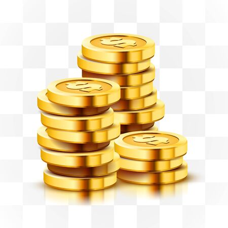 Stack of golden dollar coins isolated on transparent background. Stock Illustratie