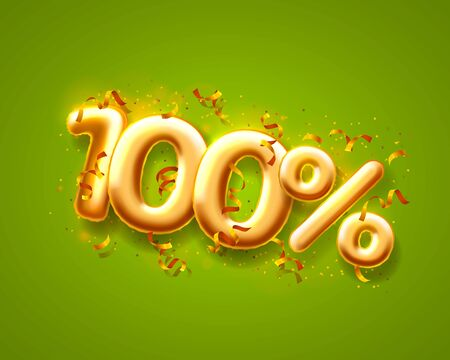Sale 100 off ballon number on the green background. Vector illustration