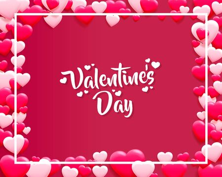 Happy Valentines Day greeting postcard. A pink heart made of small hearts. Vector illustration