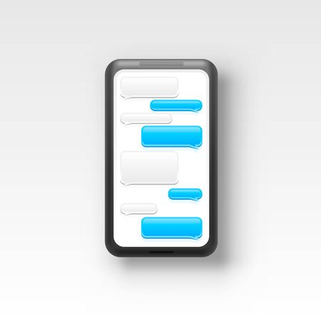 Phone text message chat frame, screen mobile social. Vector illustration Illustration