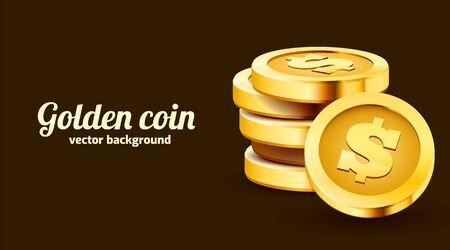 Stack of golden dollar coins isolated on dark background. Stock Illustratie