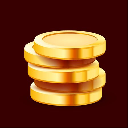 Growing stack of golden dollar coins isolated on dark background. Economics concept.