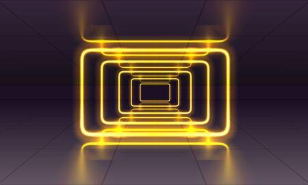 Neon scene, laser show on the night background. Vector illustration