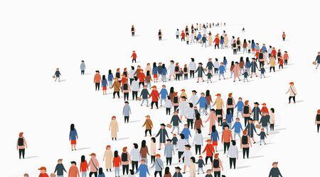 Multitud de personas de negocios de pie en una línea. La gente se agolpa. Ilustración vectorial