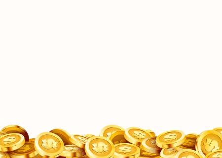 Golden shiny coins. Big bunch of dollars. Rich or casino luck concept. Vector illustration