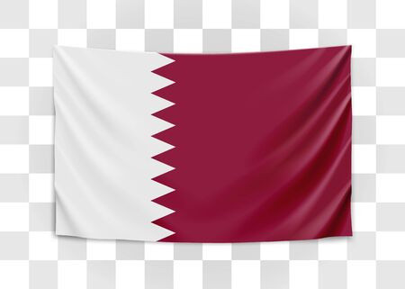 Hanging flag of Qatar. State of Qatar. National flag concept.