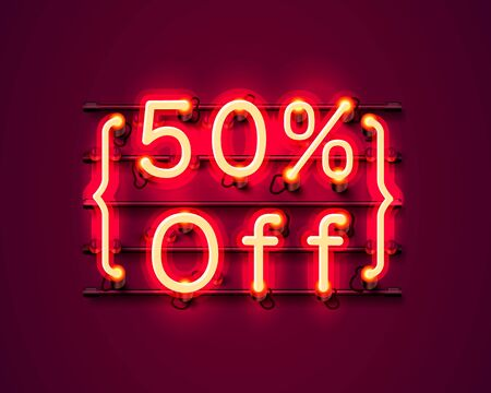 Neon frame 50 off text banner. Night Sign board. Vector illustration