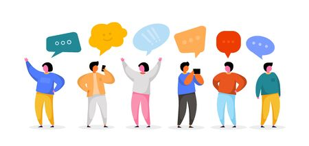Social Network Template. Group of Young People Characters Chatting and speaking. Virtual Communication Concept. Vector illustration