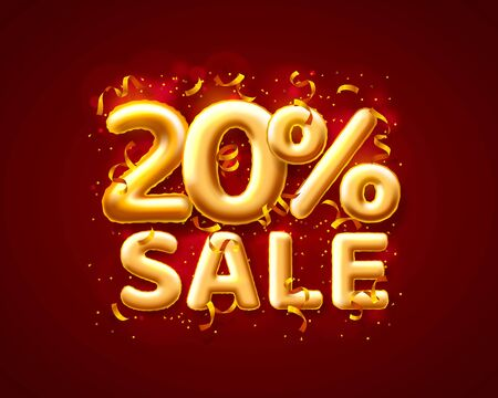 Sale 20 off ballon number on the red background. Vector illustration