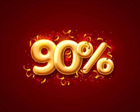 Sale 90 off ballon number on the red background. Vector illustration Standard-Bild - 138467331