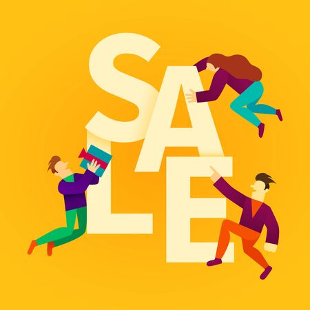 Cartoon people with big sale sign. Sale banner. Vector illustration