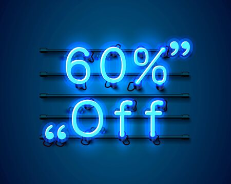 Neon frame 60 off text banner. Night Sign board. Vector illustration