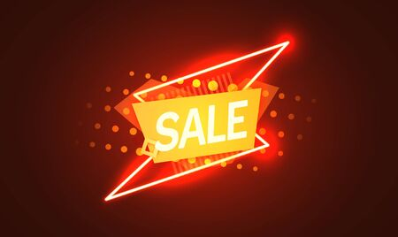 Neon sign, the word Sale on dark background. Discount Background for your design, greeting card, banner. Vector illustration Ilustrace