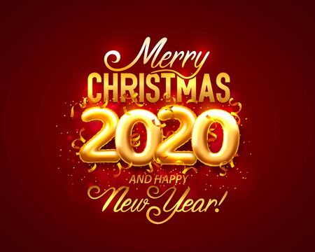 Merry Christmas and happy new year 2020, vector background, design. Vector illustration Standard-Bild - 138467947