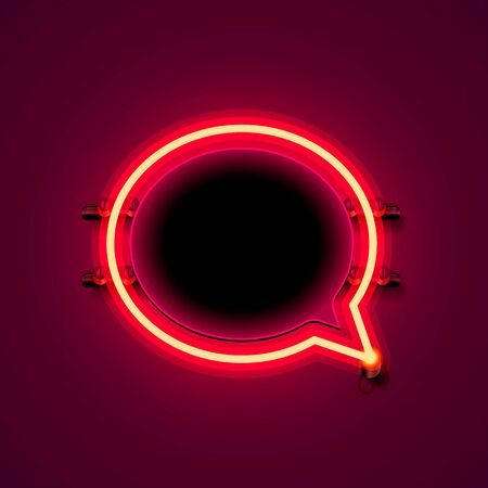 Neon frame sign in the shape of a chat. template design element. Vector illustration Ilustrace
