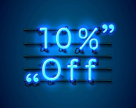 Neon frame 10 off text banner. Night Sign board. Vector illustration Ilustrace