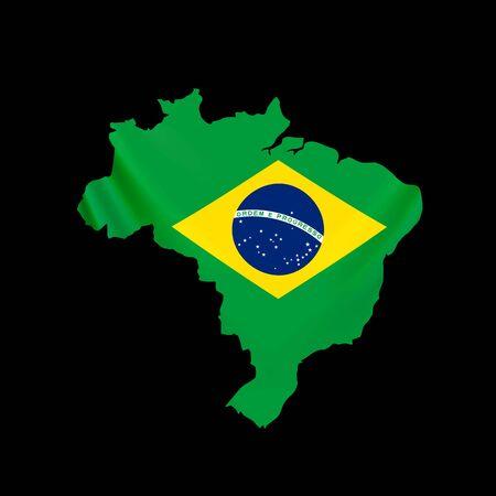 Hanging Brazil flag in form of map. Federative Republic of Brazil. Brazilian national flag concept. Vector illustration.