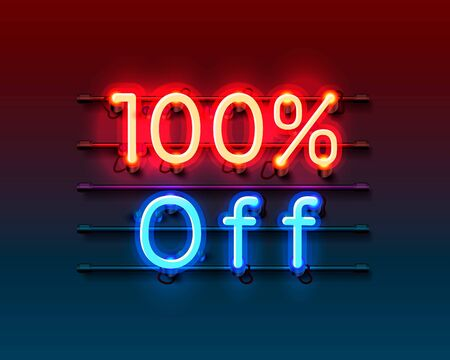 Neon frame 100 off text banner. Night Sign board. Vector illustration