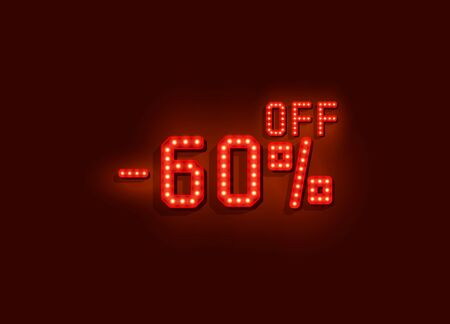 Neon 60 sale off text banner. Night Sign. Vector illustration Ilustrace