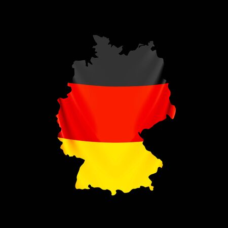 Germany flag in form of map. Federal Republic of Germany. National flag concept. Vector illustration. Ilustracja
