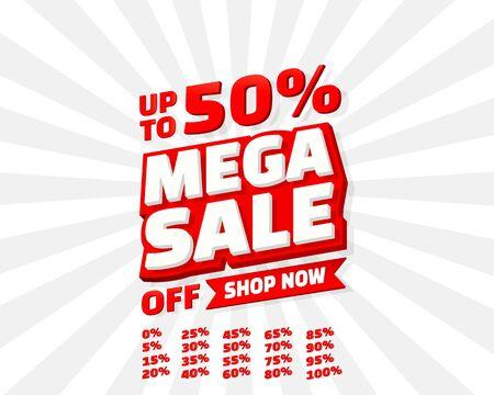 Mega sale off banner set collection, color red. Vector illustration