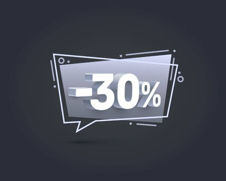 Banner 30 off with share discount percentage. Vector illustration