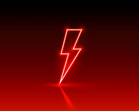 Neon sign of lightning signboard on the red background.