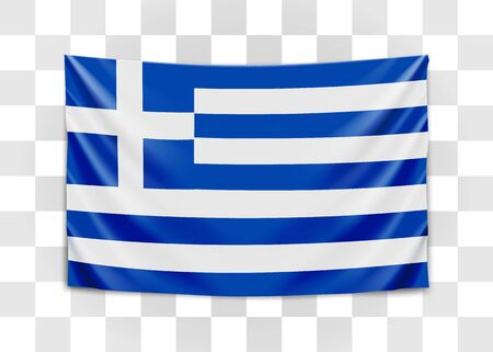 Hanging flag of Greece. Hellenic Republic. Greek national flag concept. Vector illustration.