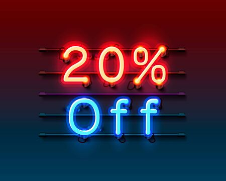 Neon frame 20 off text banner. Night Sign board. Ilustrace