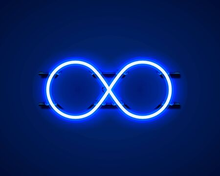 Infinity neon symbol on the blue background.