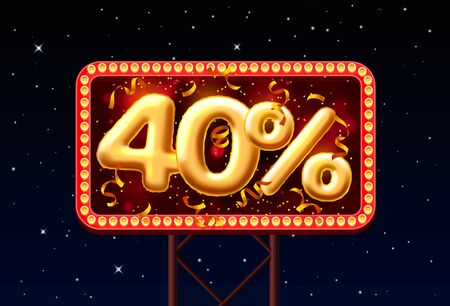 Sale 40 off ballon number on the Night Sky background.