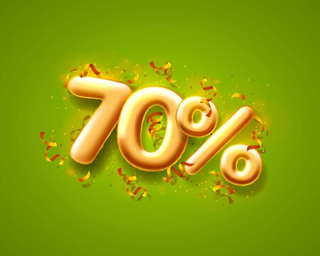 Sale 70 off ballon number on the green background.