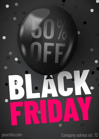 Black Friday sale web banner template. Dark background with black balloon and confetti for seasonal discount offer.