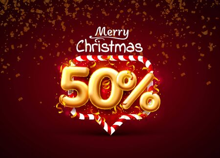 Merry Christmas, sale 50 off ballon number on the red background. Ilustrace