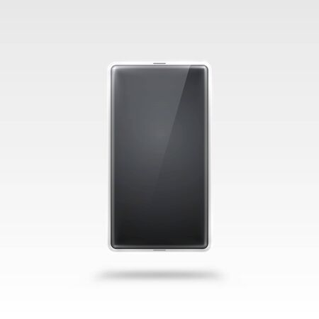 Phone with a white screen, object electronics on the white background. Illustration