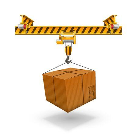 Crane loading boxes art box, Unloading the packet.