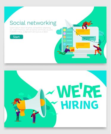 Small cartoon people with megaphone banner. We are hiring. Group of small people doin conversation on social media or online chat application. Can be use for presentation, banner, landing page.