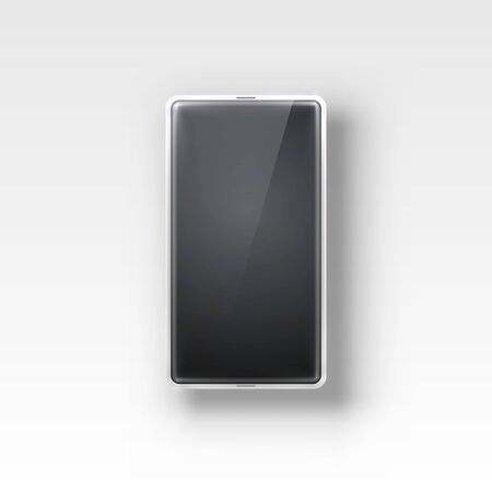 Phone with a black screen, object electronics on the white background. Illustration