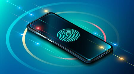 Mobile data security concept. Smartphone with fingerprint scanner. Internet security. Fingerprint access password, fingerprint on smartphone screen, data protection. Vector illustration