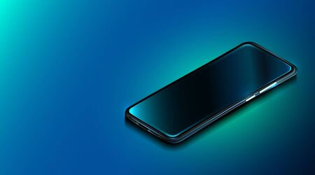 Modern smartphone on dark blue background. Realistic isometric phone. Mock up or template shiny cellphone. Vector illustration