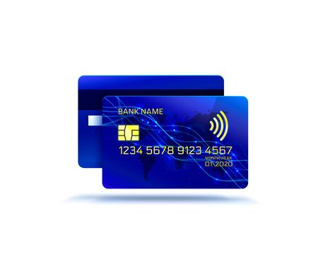 Electronic credit card icon, finance technology, white background.