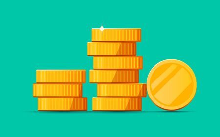 Growing stack of golden dollar coins isolated on white background. Economics concept.