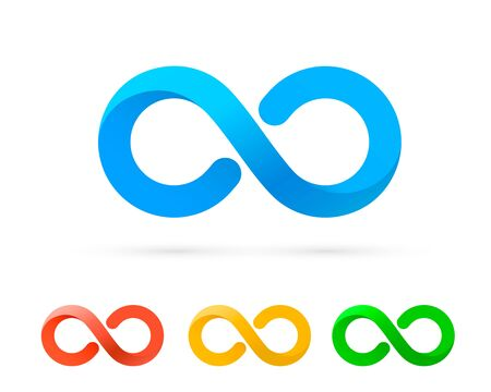 Symbol of infinity art info, color set collection. Vector Illustration Ilustrace