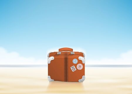 Luggage with traveling stickers at sunny beach. Vector illustration Illustration