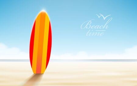 Vector holidays design. Surfboards on a beach against a sunny seascape