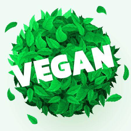 Fresh leaves background. Vegan concept. Healthy food. Vector illustration