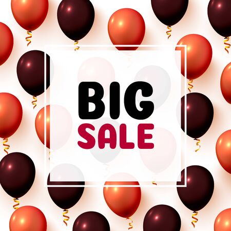 Big sale balloon market frame on the white background. Vector illustration