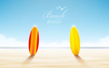 Vector holidays design. Realistic beach sunny seascape. Vector illustration Illustration